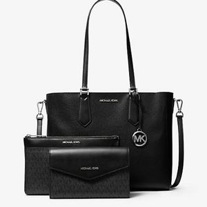 Michael Kors 3in1 black pebbled leather purse set